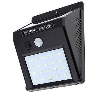 Luminária Solar de Parede 20 Leds com Sensor de Movimento e Acendimento Automático