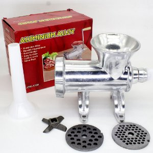 Moedor Manual de Carne Número 12 Alumínio + Disco Extra 7mm + Funil Linguiça