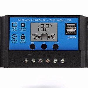 Controlador de Carga Solar 10A 12/24v Lcd 2 saídas USB