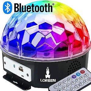 Meia Bola Maluca de Led Cristal Bluetooth + Pendrive e Controle
