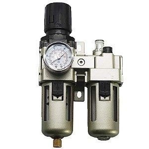 Filtro de Ar Regulador Lubrificador Manômetro 3/8 para Compressor de Ar