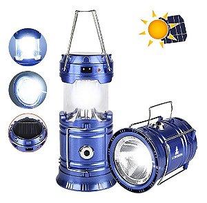 Lanterna Lampião 7 Leds Solar Bivolt + Entrada USB