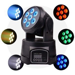 Mini Moving Head Wash 7 Leds 84 Watts RGBW Quadriled