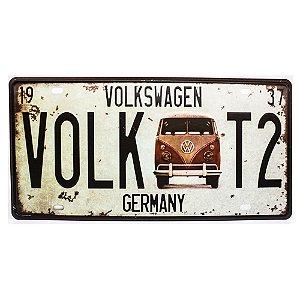 Placa de carro antiga decorativa metálica vintage Volk T2