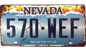 Placa de Carro Antiga Decorativa Metálica Vintage Nevada