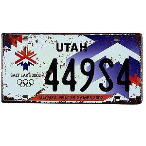 Placa de carro antiga decorativa metálica vintage Utah