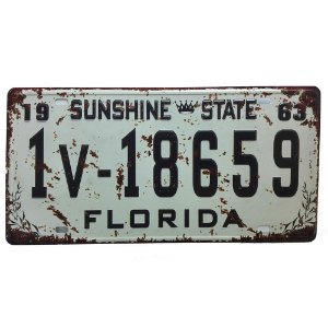 Placa de Carro Antiga Decorativa Metálica Vintage Florida