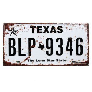 Placa de carro antiga decorativa metálica vintage Texas