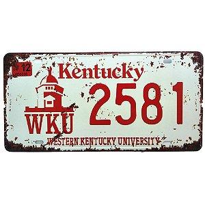 Placa de Carro Antiga Decorativa Metálica Vintage Kentucky