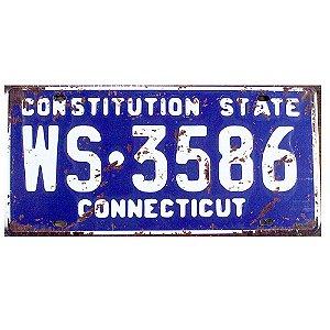 Placa de carro antiga decorativa metálica vintage Connecticut