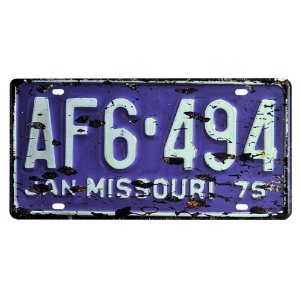 Placa de Carro Antiga Decorativa Metálica Vintage Missouri