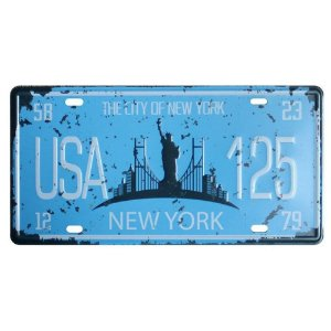 Placa de carro antiga decorativa metálica vintage New York