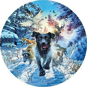 Capa para estepe Ecosport Crossfox + Cabo + Cadeado Animais na Neve
