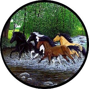 Capa para estepe Ecosport Crossfox + Cabo + Cadeado Cavalos