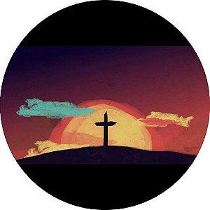 Capa Personalizada para estepe Ecosport Crossfox + Cabo + Cadeado Religioso Cruz na Colina