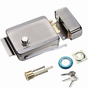 Fechadura Eletrônica Aço Inox Porta Portão Botão Abertura Chave Segurança