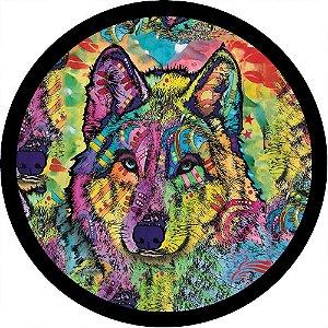 Capa para estepe Ecosport Crossfox + Cabo + Cadeado Lobo Tribal Colorido