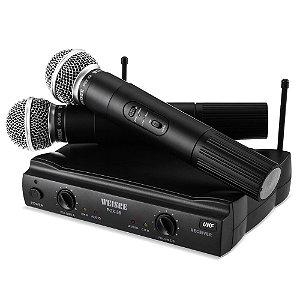 Microfone Duplo Sem Fio Dinâmico Alcance Até 30m Weisre PGX-58
