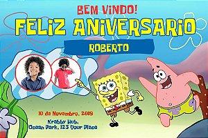 Painel de Festa Infantil Personalizável em Tecido Bob Esponja