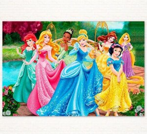 Painel de Festa Infantil Personalizado em Tecido Tema Princesas Disney