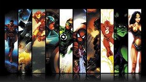 Painel de Festa Infantil Personalizado em Tecido Tema Marvel Vs. DC