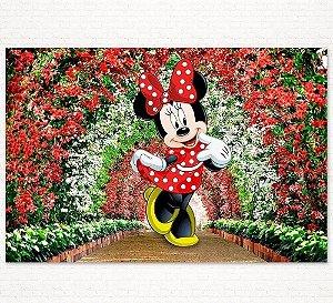 Painel de Festa Infantil Personalizado em Tecido Tema Minnie