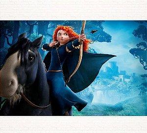 Painel de Festa Infantil Personalizado em Tecido Tema Princesas Disney Merida