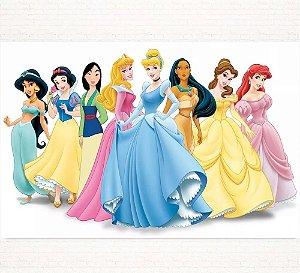 Painel de Festa Infantil Personalizado em Tecido Tema Princesas Disney 2