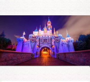 Painel de Festa Infantil Personalizado em Tecido Tema Castelo Disney 4