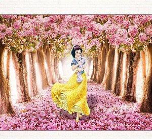 Painel de Festa Infantil Personalizado em Tecido Princesas Disney Branca de Neve 2