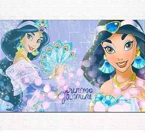 Painel de Festa Infantil Personalizado em Tecido Princesas Disney Jasmine Aladdin 2