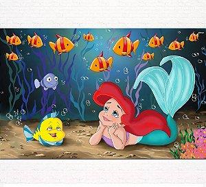 Painel de Festa Infantil Personalizado em Tecido Pequena Sereia Ariel 3