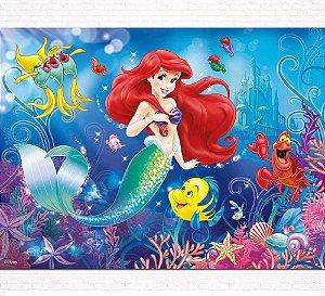 Painel de Festa Infantil Personalizado em Tecido Princesas Disney Ariel Pequena Sereia 2