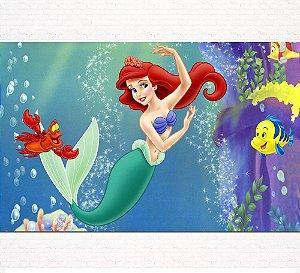 Painel de Festa Infantil Personalizado em Tecido Princesas Disney Ariel Pequena Sereia 5