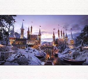 Painel de Festa Infantil Personalizado em Tecido Castelo na Neve