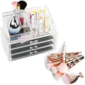 Kit Organizador Porta Maquiagem Joias Batom Acrilico 3 Gavetas + 11 Pincéis Cabo Diamante com Peixinho