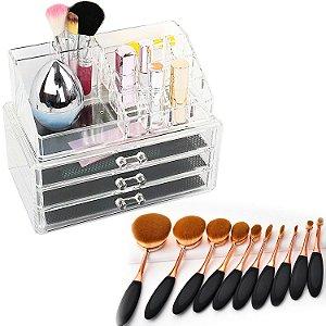 Kit Organizador Porta Maquiagem Joias Batom Acrílico 3 Gavetas + 10 Pincéis Escova Oval Cabo Emborrachado