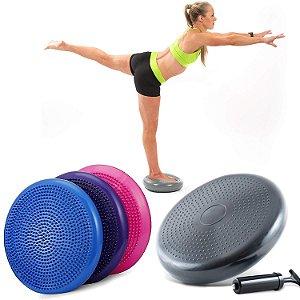 Disco Equilíbrio Inflável Balance Cushion Almofada Pilates 33cm com Bomba