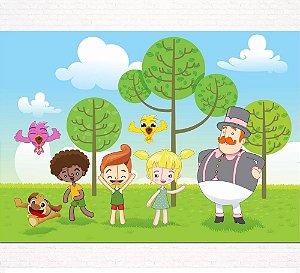 Painel de Festa Infantil Personalizado em Tecido Tema Mundo Bita 3