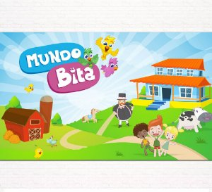 Painel de Festa Infantil Personalizado em Tecido Tema Mundo Bita 4