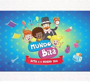 Painel de Festa Infantil Personalizado em Tecido Tema Mundo Bita 6