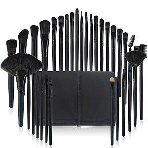 Kit Pinceis Maquiagem Profissional 32 Peças com Estojo Organizador Preto
