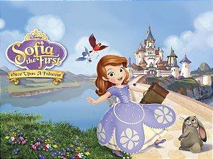 Painel de Festa Infantil Personalizado em Tecido Princesa Sofia 3 PA91