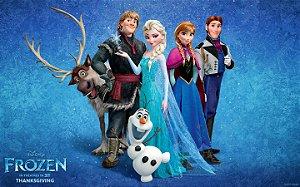 Painel de Festa Infantil Personalizado em Tecido Frozen - PA109