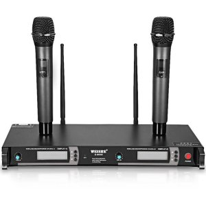 Microfone Duplo Sem Fio Alcance até 50m UHF U-8030 Weisre Profissional