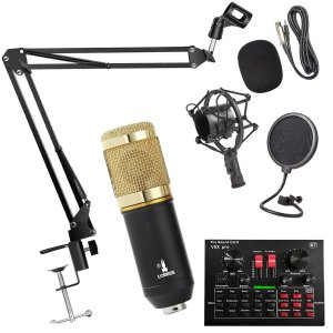 Kit Completo Microfone BM800 com Mini Placa V8X Live Sound