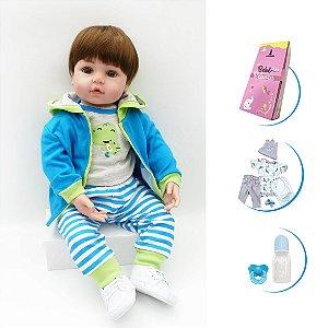 Boneco Bebê Reborn Menino Vinil Corpo em Tecido com Acessórios
