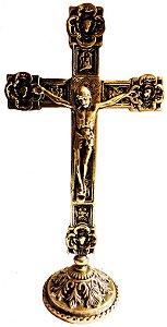 Crucifixo Flores Bronze de Mesa (31cm)