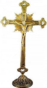 Crucifixo de Mesa em Bronze Vazado na Ponta (38 cm)