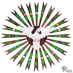 Divino Espírito Santo com Flores e Folhas Madeira Resplendor Redondo Encerado 83cm